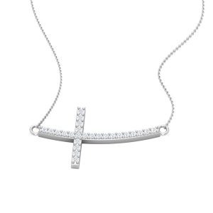Religious Jewelry | SIDE CROSS | 14Kt White Gold