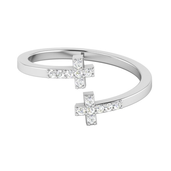 Cross Diamond Ring | LITTLE CROSS RING | 14 Kt White Gold