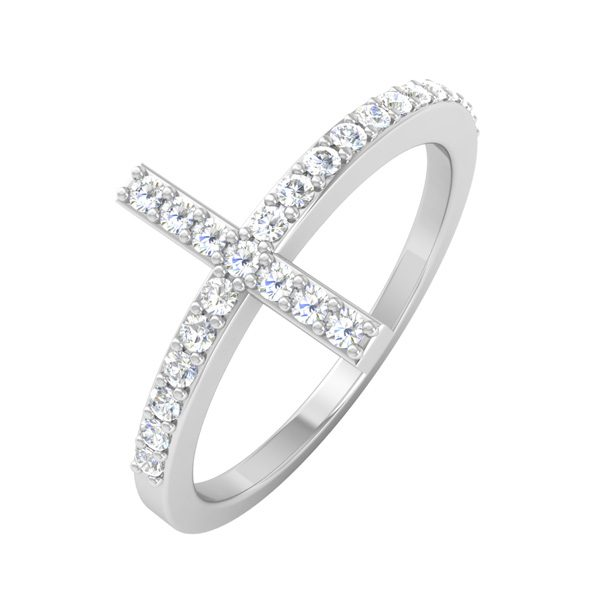 Spritual Diamond Ring | CROSS YOUR FINGERS | 14 Kt White Gold