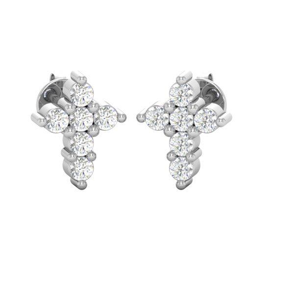 Mini Cross Spiritual Earring | 14kt White | Cross Jewelry