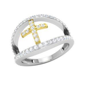 Two Tone Cross Ring | 14Kt Rose Gold | White Diamonds Ring