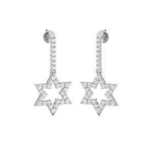 SPARKLING STAR DROPS | 14 Kt White Gold | Diamond Drop & Dangles