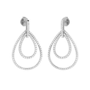 White Diamond Drops | DANGLE DIVA DROPS | 14Kt White Gold