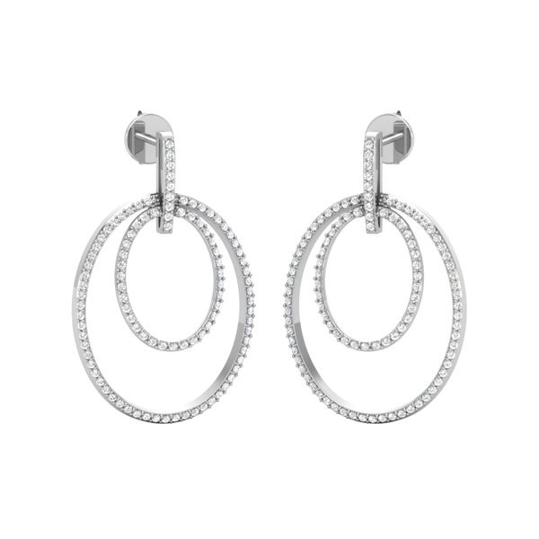 Diamond Classic Earrings | SENSATIONS DROPS | 14Kt White Gold