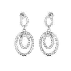 14kt White Gold Earrings | SASSY OVAL DROPS | White Diamond