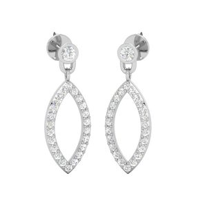 Leaf Drops | Diamond Drop Dangles | 14kt White Gold