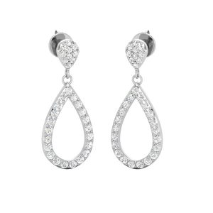 Tear Diamond Drops | 14Kt White Gold |Diamond Drops Dangles
