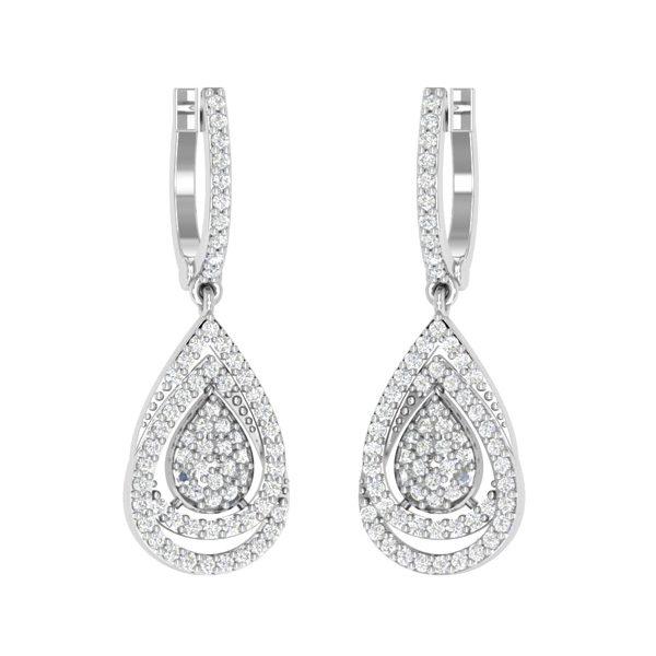 Cocktail Drop Dangles | ELEGANT DANGLING | 14kt White Gold Diamond