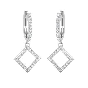 Diamond Hoop Earings | Dashing Square | White Gold White Diamonds
