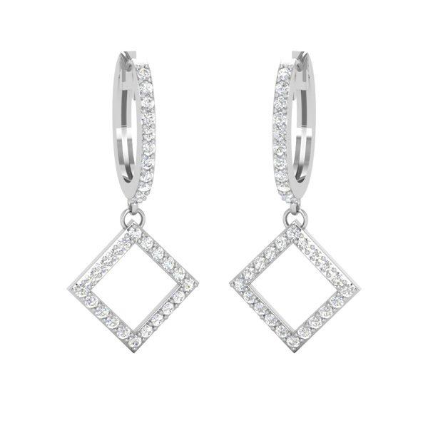 Diamond Hoop Earings | Dashing Square | White Gold White Diamonds