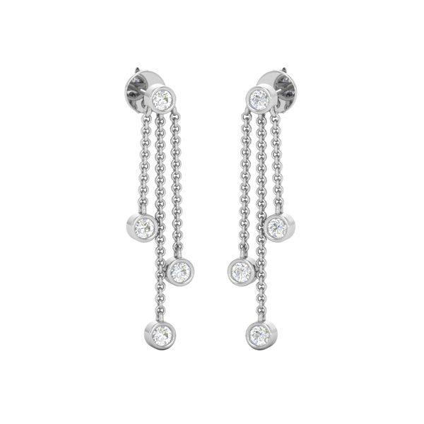 Dangles | CUTE BEZEL DROPS | 14 Kt White Gold | Diamonds