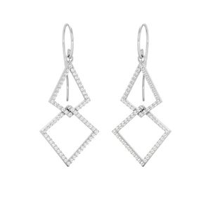 Diamond Dangles | DISCO DROP EARRINGS | 14 Kt White Gold