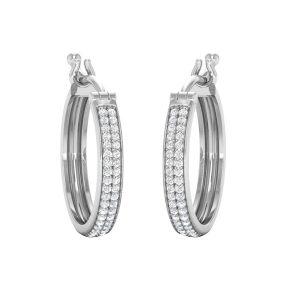 SHINY HOOPS | 14 Kt White Gold | Diamond Hoops & Huggies