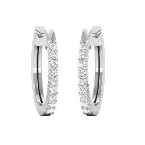White Diamond Hoops Huggies | SIMPLE HOOPS | 14kt White Gold