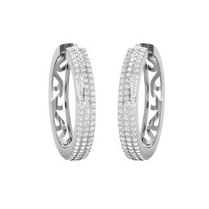 FINE FILIGREE HOOPS | 14kt White Gold Hoops | White Diamonds