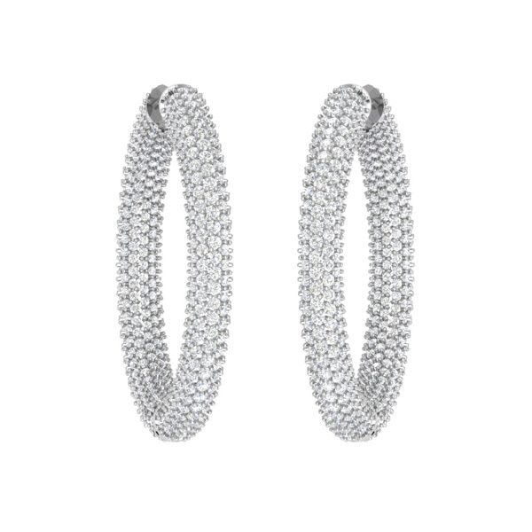 EXQUISITE PAVE | Diamond Hoops | 14kt White Gold Jewellery