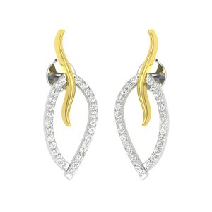 Two Tone Gold   LEAFY LOVE STUDS   White Diamonds