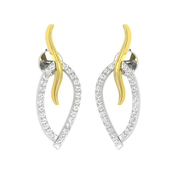 Two Tone Gold | LEAFY LOVE STUDS | White Diamonds