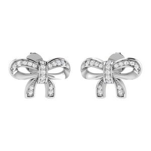 BOW STUDS | 14 Kt White Gold | White Diamond Studs