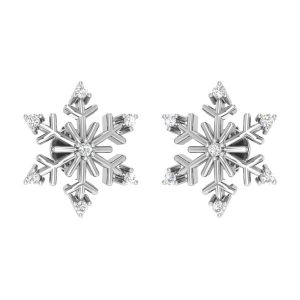 SNOWFLAKE STUDS | 14 Kt White Gold | White Diamond Earrings