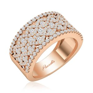 Cocktail Rose Gold Ring | AITANA | White Diamonds