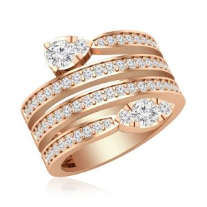 Cocktail Ring Collection | JAIDA Diamond Ring | 14Kt Rose Gold
