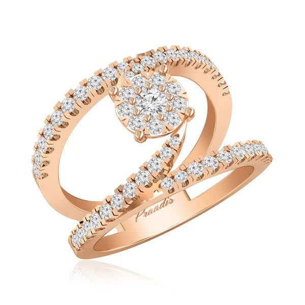 White Diamonds Cocktail Ring | EMMALINE | 14Kt Rose Gold