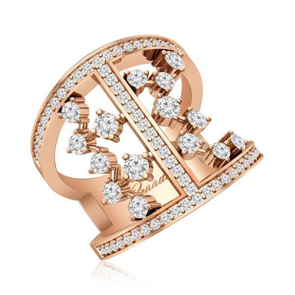 Illiana Cocktail Diamond Ring   14Kt Rose Gold   Praadis Dimaonds