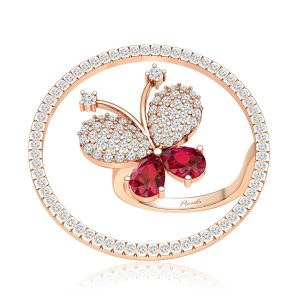 Rosy Wings Butterfly   14 Kt Rose Gold   White Diamonds Ring