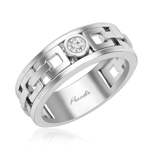 Mens Ring | ASHER (WHITE GOLD) | 14 Kt White Gold | White Diamonds