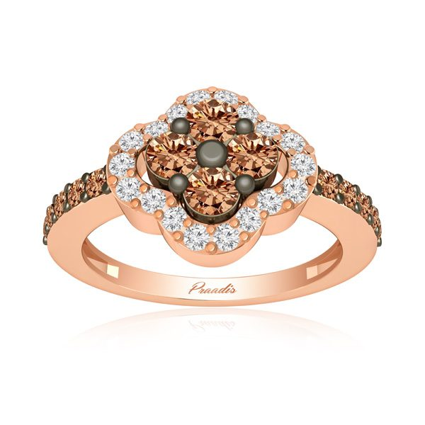 LUMINOUS | 14Kt Rose Gold Ring | White & Brown Diamonds