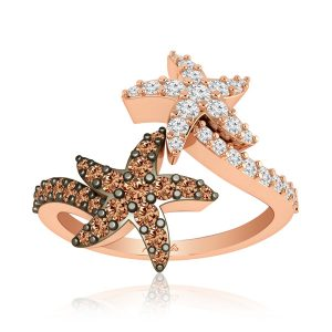 Starfish Designed Ring | ESTEE | 14Kt Rose Gold & Diamonds