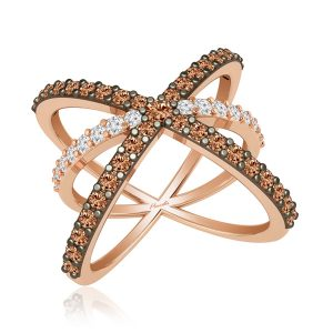 Rose Gold Diamond Ring | INTERTWINED | White Diamonds