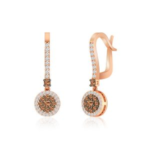 14kt Rose Gold Earrings | LYRA | White & Brown Diamonds