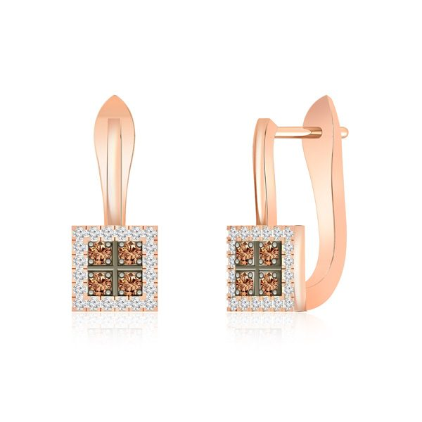 Diamond Cluster Earring | ALDORA | 14 Kt Rose Gold