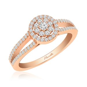 White Diamond Cluster Ring | ZENIA | 14kt Rose Gold