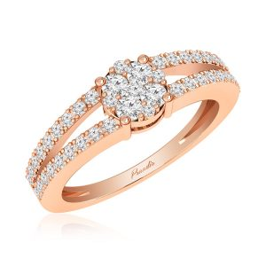 White Diamonds Cluster Ring | ROWENA | 14kt Rose Gold