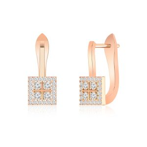 White Diamond Earrings | VINCA | 14Kt Rose Gold