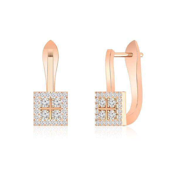 White Diamond Earrings | VINCA | 14Kt Rose Gold