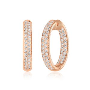 White Diamond Hoops Huggies | JESSENIA | 14 Kt Rose Gold