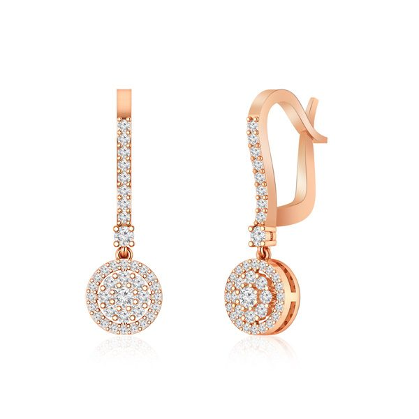 White Diamonds Earring | NIZHONI | 14Kt Rose Gold