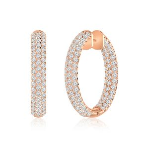 Diamond Hoops Huggies | WREATH | 14 Kt Rose Gold