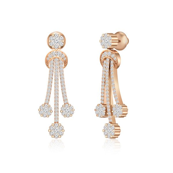 Rose gold Drops Dangles | ARAIYA | White Diamonds
