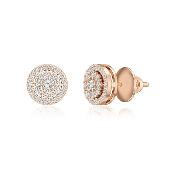 14kt Rose Gold Studs | EARTHA | White Diamonds