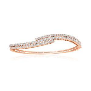 Luxury Bangles Bracelets | EVIE | 14 Kt Rose Gold | White Diamonds