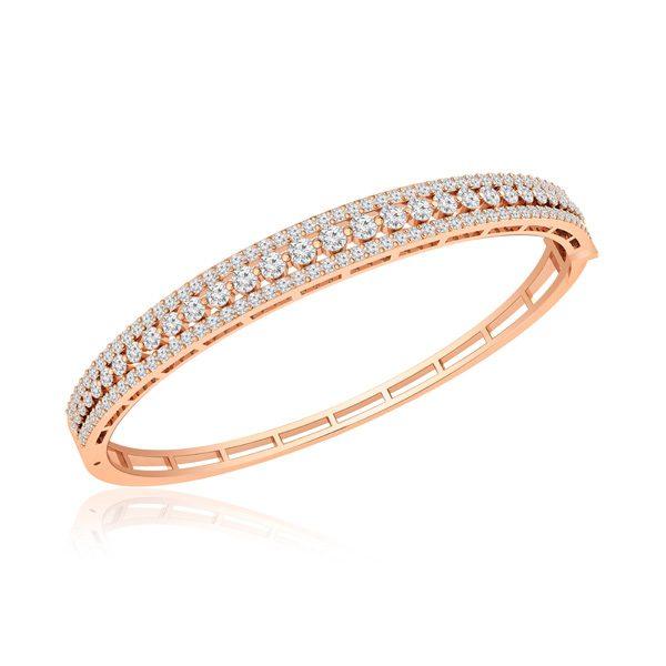 Classic Diamond Bangles Bracelets | HIZA | 14Kt Rose Gold