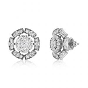 FANTASY | 14 Kt White Gold | White Diamonds Stud Earrings