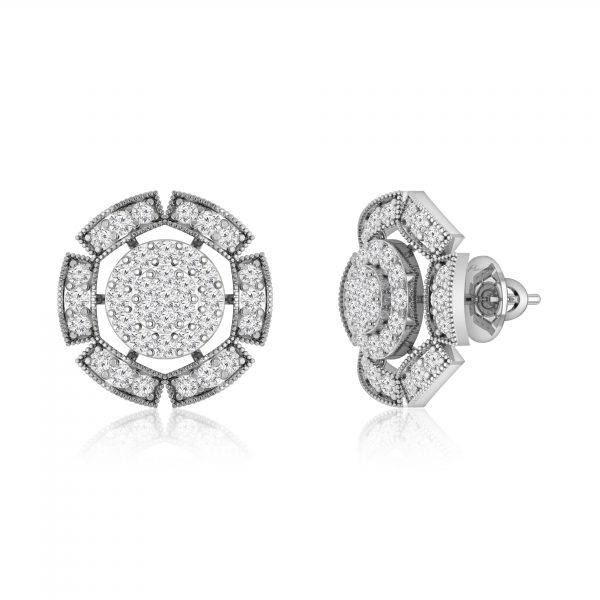 FANTASY | 14 Kt White Gold | White Diamonds Stud Earrings