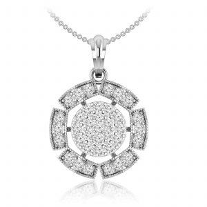 Cluster Diamond Pendant | CARA | 14kt White Gold | cluster diamond