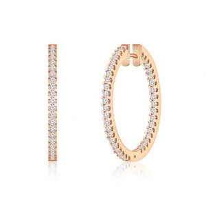 Diamond Huggies Hoops | MAKAYLA | 14kt Rose Gold